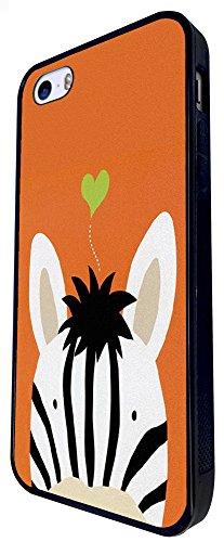 498 - Cute Zebra Face Love Heart Design iphone SE - 2016 Coque Fashion Trend Case Coque Protection Cover plastique et métal - Noir