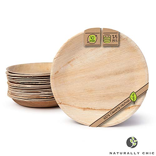 "Naturally Chic Compostable Biodegradable Disposable Plates - Palm Leaf 10"" Round, Deep Small Dinnerware Set - Eco Friendly Alternative - Party, Wedding, Event Plates (25 Pack)"