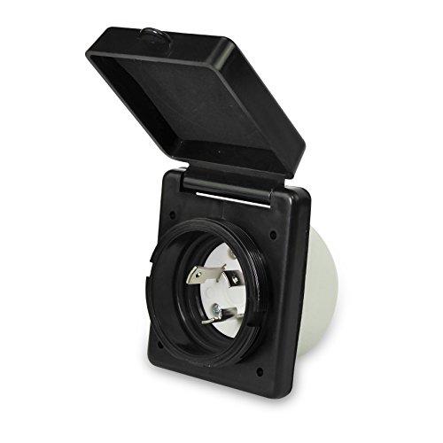 Leisure RV 125V 30 AMP Power Plug Twist Lock Inlet with 3 Stainless Steel Pins, Black (Black)