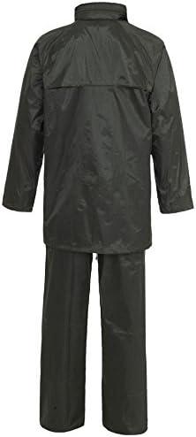 Hi Vis Viz /& Plain Rainsuit Jacket Trouser High Visibility Waterproof Hooded Rain Suit 2 Piece Set