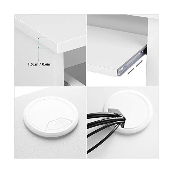 Homfa Bureau d'ordinateur Table PC Table de Travail avec Tablette à Clavier Trois Tiroirs et Trois Étages Bois…