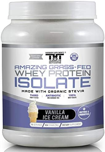Amazing Grass Fed Whey Protein Powder. The Finest Protein Shake for Healthy Gut Bacteria, Digestive Health, Optimal Absorption of Nutrients, 15 Serving, Vanilla Ice Cream