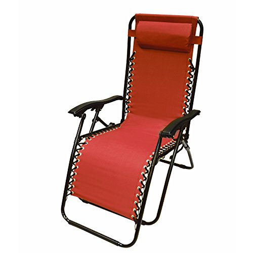 ALEKO FLCH-RD Outdoor Patio Foldable Chaise Lounge Leisure Chair Red by ALEKO