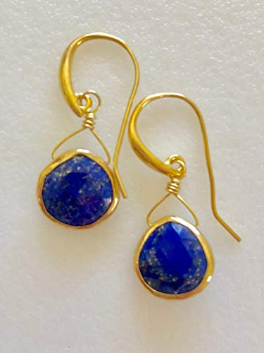 Lapis Lazuli Gemstone Earrings, 24K Gold Vermeil Bezel Gemstones, Deep Blue Lapis Briolettes, September Birthstone, Gold Vermeil Artisan Ear Wires.