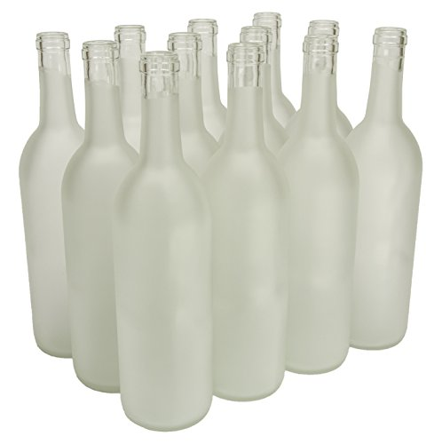 North Mountain Supply 750ml Glass Bordeaux Wine Bottle Flat-Bottomed Cork Finish - Case of 12 - Frosted