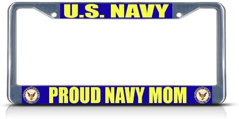 Fastasticdeals U.S Navy Proud Navy Mom License Plate Frame Tag Holder Cover
