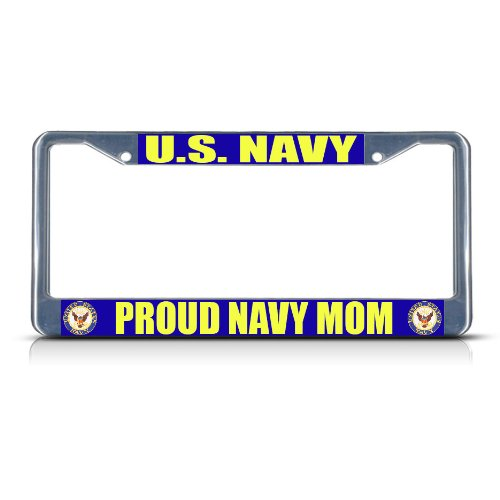 Fastasticdeals U.S. Navy Proud Navy MOM Chrome Metal Heavy Duty License Plate Frame Tag Border
