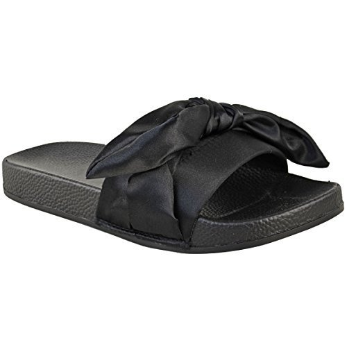 Fashion Thirsty Womens Ladies Slides Flat Slider Sandals Slip On Mules Slipper Summer Shoes Size Black Satin CNKl5rpvd