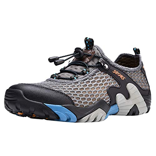 Men Non-Slip Hiking Shoes Lightweight Off-Road Lace-Up Mesh Athletic Walking Gym Casual Comfort Soft Sneakers Grey