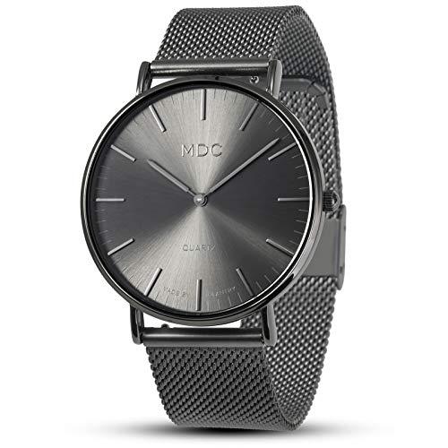 Mens Minimalist Wrist Watch Black Watches for Men Analog Ultra Thin Slim Man Dress Casual by MDC