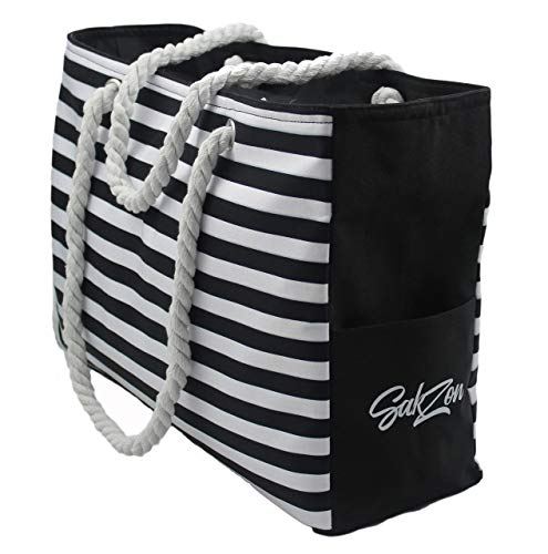 Beach Tote Bag | Large waterproof with zippered top and cotton rope handles (Black)