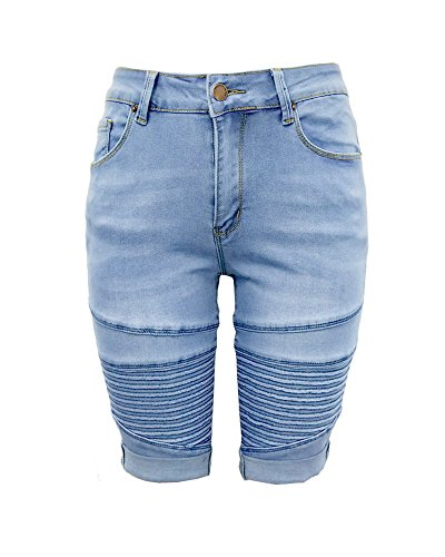 - Aodrusa Womens Middle Rise Elastic Denim Shorts Knee Length Curvy Bermuda Stretch Short Jeans Light Blue XXL