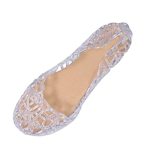 Jelly Shoes (Dear Time Women Flat Heel Summer Beach Jelly Shoes Silver US 8.5)