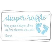 50 Blue Baby Feet Diaper Raffle Tickets - Boy Baby Shower Game