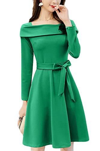 da donna da cocktail Abito verde a maniche lunghe tqw64E