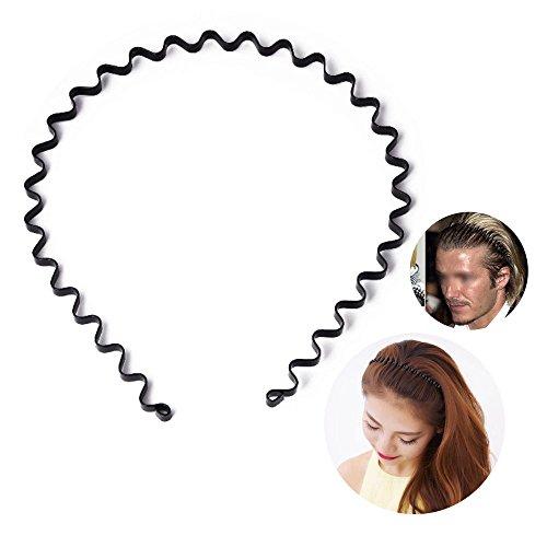 S SIFUNUO Unisex Black Spring Wavy Metal Hair Hoop Band Men Women Sports Headband Headwear Accessories – DiZiSports Store