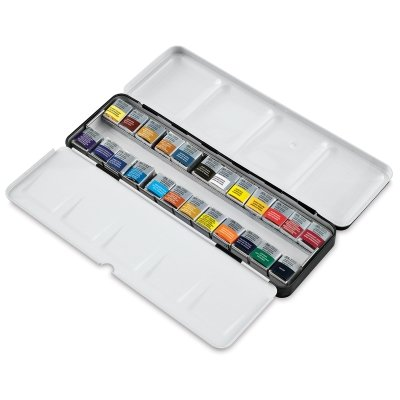 (Winsor & Newton : Professional Watercolour : Lightweight Metal Sketchers Box Set : 24 Half Pans (24 Colors Set))