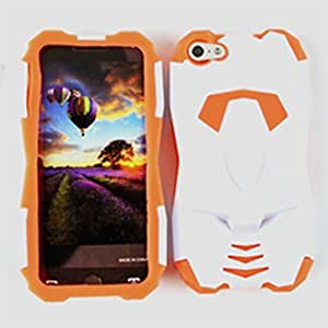 CellTx Novelty Case For Apple (iphone 5, 5S) Case Kick Stand Transformer Cover (Orange, White) AT&T, T-Mobile, Sprint, Verizon, Cricket, Virgin Mobile, Boost Mobile by runtopwell