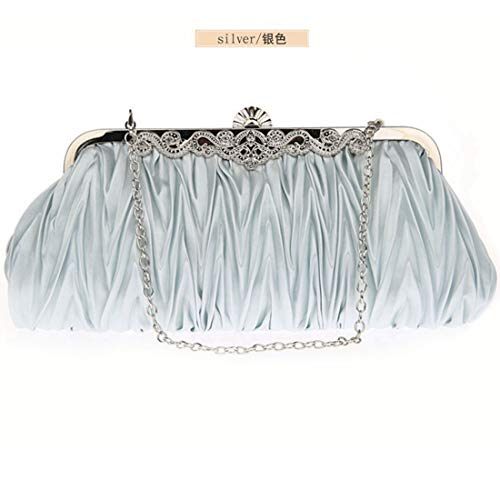 Silk JESSIEKERVIN Women Beige Silver Handbags Purse Cocktail Color Evening Bag Clutches r5rWTBn1
