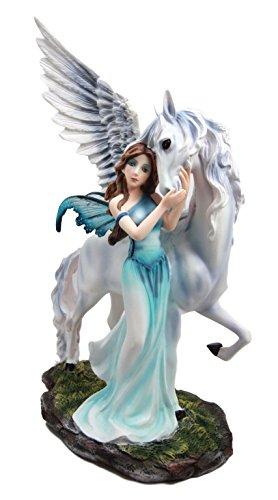 Ride Horse Statue (Atlantic Collectibles Fairy Damsel Taming Wild White Pegasus Horse Figurine 11