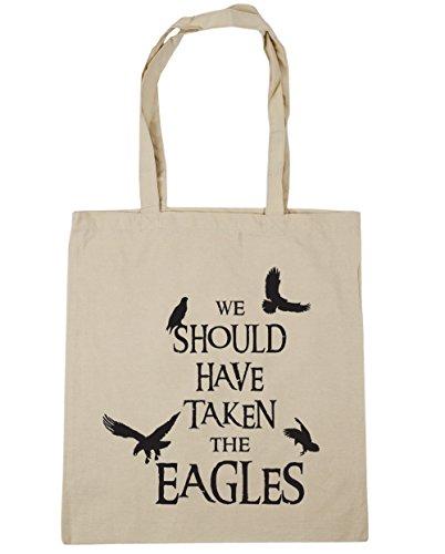 HippoWarehouse WE debería haber tenido el Eagles Tote Compras Bolsa de playa 42cm x38cm, 10litros Natural