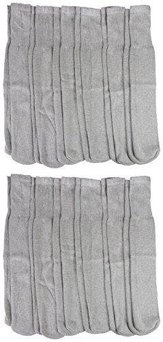 12 Pairs Mens Tube Socks, Cotton, Over The Calf, Full Terry Cushion, Gray, Ribbed, Bulk Value Sock Packs (Mens Gray Tube Socks)