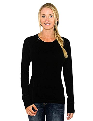 Wool T-shirt Sweater - Woolx Womens Hannah Midweight Merino Wool Base Layer Shirt, Black, Medium