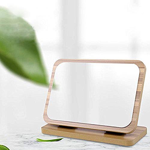 GOHIDE High Definition Cosmetic Mirror Wooden HD Makeup Mirror Simple Beauty Mirror Dressing Folding Simple Portable Large Desktop by GOHIDE (Image #5)