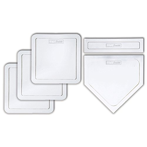 Franklin Sports Thrown Down Baseball Bases with Home Plate and Pitcher's Rubber - Rubber Base Set Perfect for Baseball, Teeball, and Kickball - Five Piece White ()