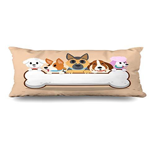 Ahawoso Body Pillows Cover 20x54 Inches Graphic German Dogs Bone Shepherd Character Cute Frise Puddle Bichon Corgi Zippered Cushion Case Home Decor Pillowcase