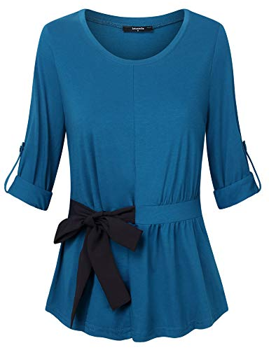 (Lotusmile Women's Roll-up Long Sleeve Round Neck Blouse Top with Bow Tie Front,Dark Cyan XL)