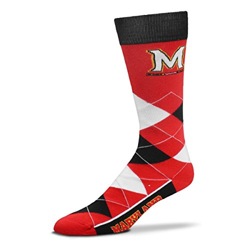 For Bare Feet NCAA Argyle Lineup Unisex Crew Dress Socks-One Size Fits Most-Maryland Terrapins