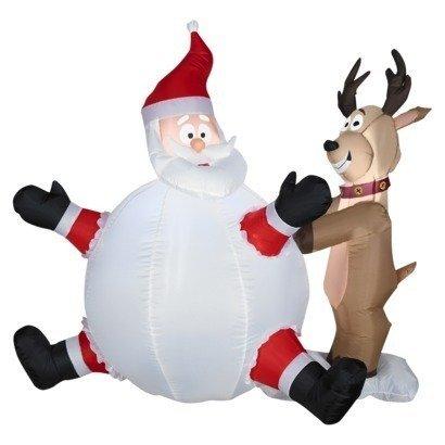 Papá Noel en una bola de nieve con renos de Navidad Airblown ...