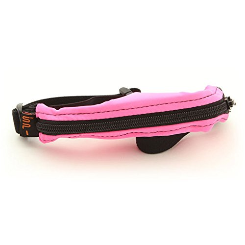 SPIbelt Kids No-Bounce Belt with Hole for Insulin Pump, Medical Devices or Headphones for Active Kids! (Hot Pink with Black Zipper) ()