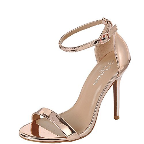 Forever Womens Open Toe Buckle Ankle Strap Single Sole Stiletto High Heel Sandal Pump 6.5 Rose Gold