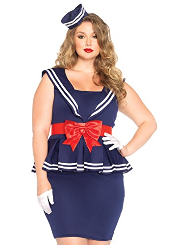 Sexy Sailors Costumes (Leg Avenue Women's Plus-Size 3 Piece Aye Aye Amy Sailor Costume, Blue, 1X)