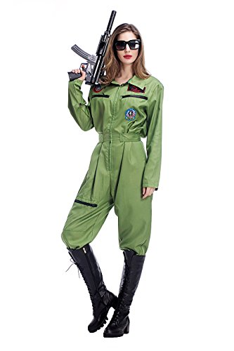 PINSE Sexy Mile High Pilot Costumes Halloween Jumpsuit