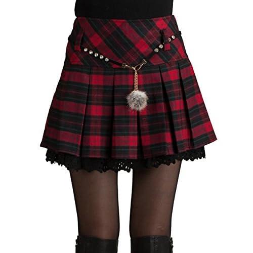 Frauen Schulmädchens Plisseerock Schule hohe Taille Rock kurze Plaid Rock Kleid