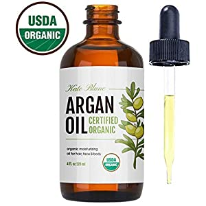 Moroccan Argan Oil, USDA Certified Organic, Virgin, 100% Pure, Cold Pressed by Kate Blanc. Stimulate Growth for Dry and Damaged Hair. Skin Moisturizer. Nails Protector. 1-Year Guarantee.