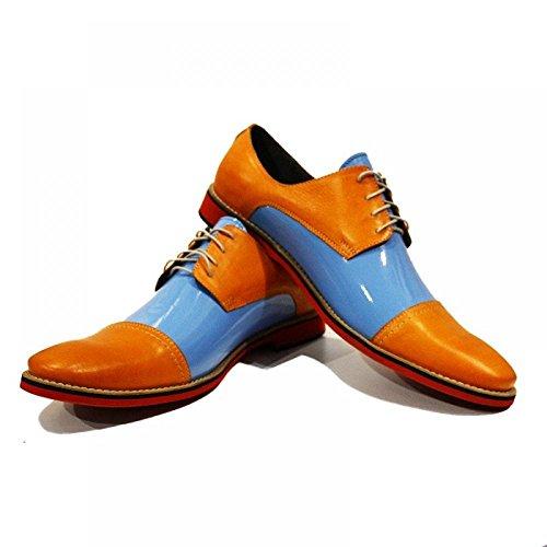 Modello Vito - Handmade Italiano Da Uomo In Pelle Arancia Scarpe da sera - Vacchetta Pelle di brevetto - Allacciare