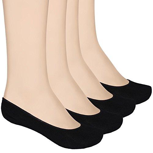 Füßlinge Baumwolle Ballerina Socken für Damen 4 Paar ein Pack mehre Farbe (schwarz)