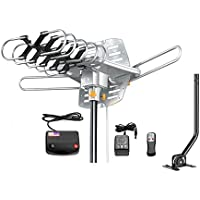 Jeje TV Antenna Outdoor Amplified - Motorized 360 Degree Rotation - Digital HDTV Antenna - 150 Miles Range - Wireless Remote (With Mount Pole)