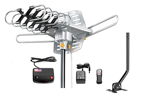 Vilso TV Antenna Outdoor Amplified - Motorized 360 Degree Rotation - Digital HDTV Antenna - 150 Miles Range - Wireless Remote (With Mount Pole)
