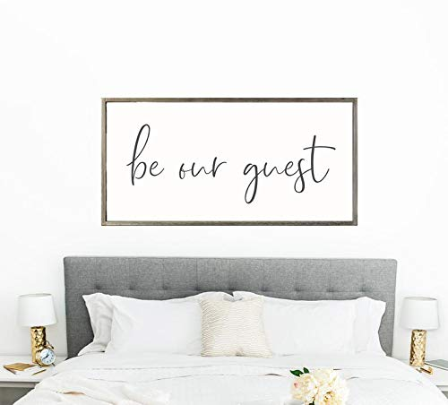 Bedroom Guest House - Framed Wood Sign, Guest Room Decor Be Our Guest Guest Bedroom Sign Farmhouse Wall Sign