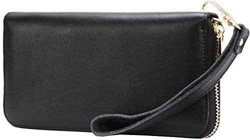 iswee-rfid-blocking-womens-leather-zipper-closure-wristlet-slim-wallet-card-case-purse-clutch-black