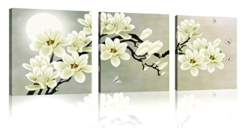 Natural art – White Magnolia & Butterfly Under the Moon Modern Giclee Canvas Prints Paintings to Photo Printed Artwork for Wall (Magnolia Wall)