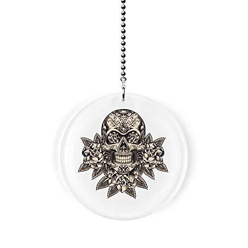 Deco Skull with Flowers Fan/Light - Porcelain Deco