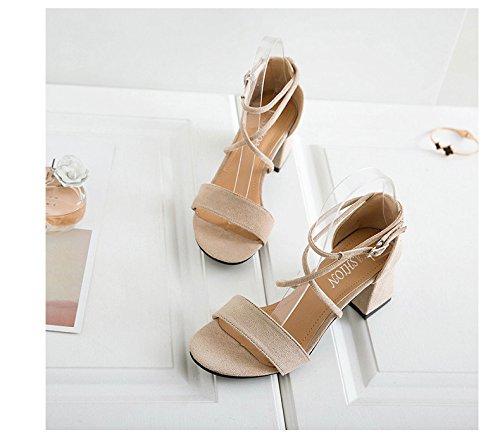 Avec 1color Sandales Pour Et Daim Hauts Sauvage Boucle Talons Femmes En Chaussures Velcro rqqI7BRx6