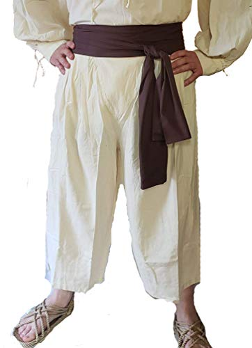 Dress Like A Pirate Historically Accurate Cotton Button Cod Breeches Slops Trewes (3XL, Sailcloth Natural) ()