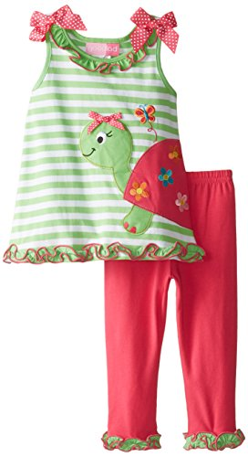 Good Lad Baby Girls' Turtle Applique Knit Legging Set, Lime, 18 Months